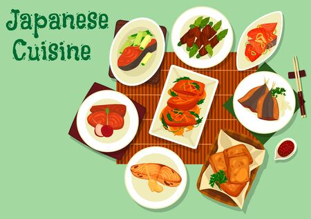 Japanese cuisine fish dishes with soy sauce and chopsticks.