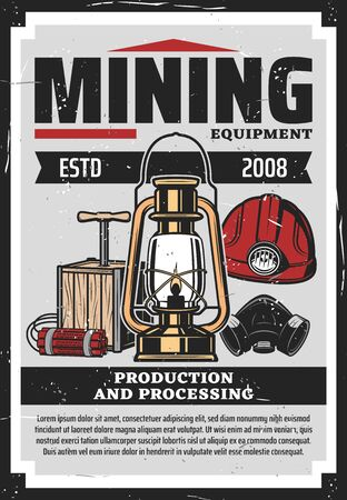 Mining equipment vector design with vintage tools of coal miner.  イラスト・ベクター素材