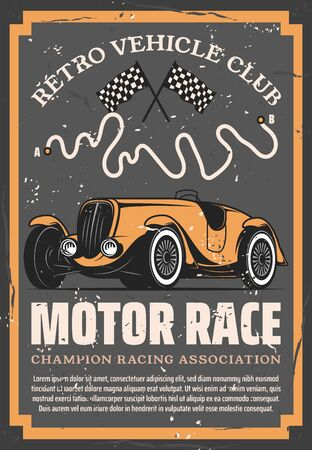 Retro sport car with auto racing flags and motorsport racetrack vector design. Vintage vehicle club, motor show, rally tournament or automobile racing poster of sporting competition themes