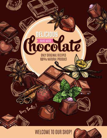 Chocolate con especias cartel de boceto de diseño vectorial de dulces y postres. Caramelos y trozos de barra de chocolate negro y con leche con menta, trufa y praliné, vainilla, canela y anís estrellado Ilustración de vector