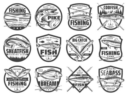 Fish, fishing rod and hook vector badges of fisherman club design. Vecteurs