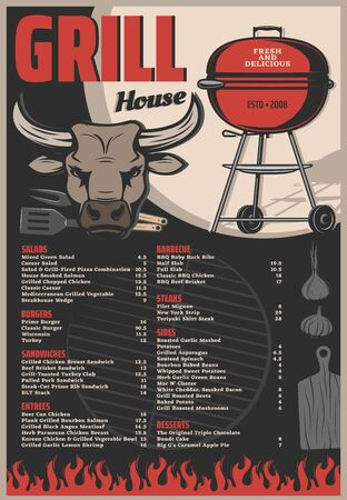 Grill house or barbecue restaurant menu vector template of bbq meat food. Vintage charcoal grill with barbeque chef fork and spatula, fire flame, cutting board and cow head, garlic and onion Ilustracja