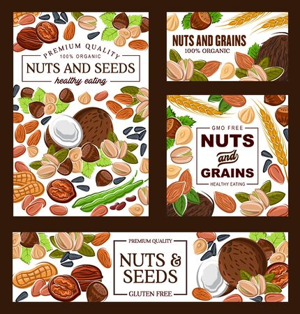 Nut, bean, seed and cereal grain vector banners healthy food, GMO and gluten free products design