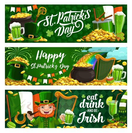 Happy Saint Patrick Day, luck shamrock and leprechaun gold coins in cauldron pot banners. Vector St Patrick Day Irish holiday party, leprechaun with green beer mug and Ireland flags