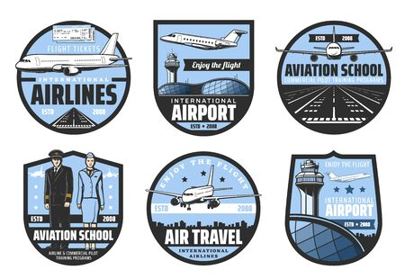 Plane, airport, pilot and flight attendant vector badges of air travel and aviation school design.