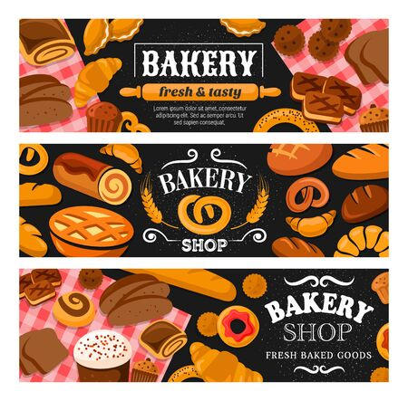 Bakery shop bread and pastries banners of wheat food vector design. Ilustração