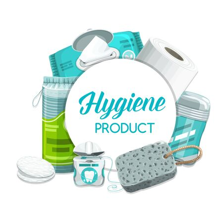 Hygiene products and personal health care toiletries, daily use cosmetics vector items. Wet towels, shower sponge and cleanser cotton discs, deodorant stick, dental floss and toilet paper roll