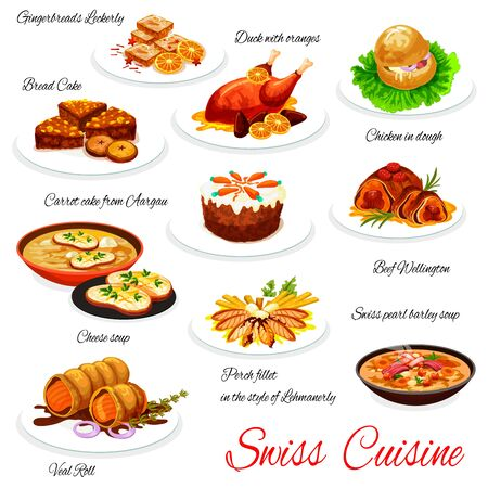 Swiss Christmas dishes of vector meat, fish, vegetable dessert. Beef Wellington, cheese soup and veal roll, gingerbread, duck with oranges and carrot cake, nut raisin bread, perch fillet, barley soup Иллюстрация