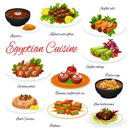 Egyptian meat and vegetable dishes with dessert. Vector lentil and corn soups, beef shish kebab, tomatoes stuffed with rice and lamb couscous, dolma, sardine patties, lamb with prunes, pistachio cake