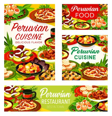 Peruvian restaurant dishes with meat, fish, vegetable and dessert. Grilled chicken chilli salad, beef corn stews and seafood shrimp croquettes, flounder ceviche and milk cookies with spice herbs Ilustração