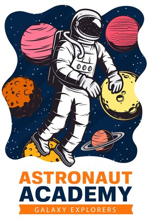 Astronaut in space with planets and stars vector design of galaxy exploration and astronomy science. Spaceman traveling in outer space with spacesuit and helmet, Moon, Saturn and Mars, Venus, Jupiter Ilustrace