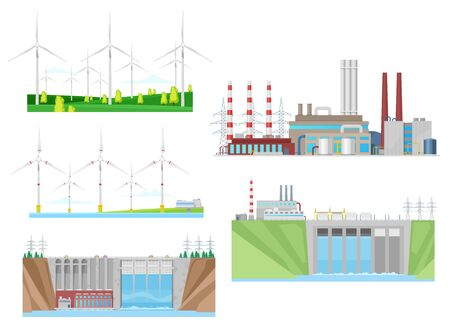 Power plants of wind, water and thermal energy generation vector icons of electricity industry design. Turbines, hydroelectric eco power plant and coal fired station with pipes and transmission towers Vettoriali
