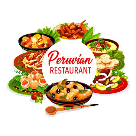 Peruvian restaurant dishes of fish ceviche, vegetable, meat and milk cookies. Vector beef and corn stews, grilled chicken salad and seafood croquettes, baked potato with olives, alfajores, oxtail soup