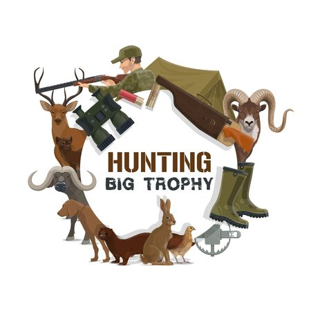 Hunting sport trophy icon with vector hunter guns, equipment and animals. Hunting dog, rifle and deer, weapon, huntsman and bull, tourist tent, binoculars and trap, quail, hare, marten and cartridge