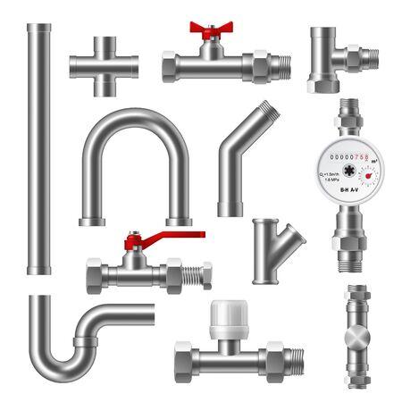 Tuyaux de plomberie, raccords, robinets à tournant sphérique de canalisation d'eau et conception vectorielle 3d du débitmètre à piston. Fixations en plastique, en pvc ou en acier, adaptateurs coudés, en T et à filetage croisé, réducteurs, capuchons et tubes