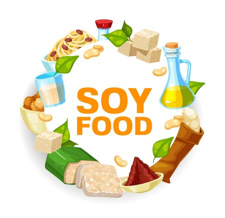 Soybeans and soy food vector icon. Soya beans, oil and sauce, tofu, milk and miso paste, tempeh, flour bag, noodles and vegetarian meat round frame with green leaves and seeds of legume plant Ilustrace