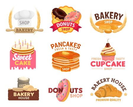 Bakery and pastry shop vector icons. Wheat bread, baguette and croissant, cake, cupcake, donuts and pancakes, flour and dough with chocolate, cream and glaze, decorated with baker hat and rolling pin