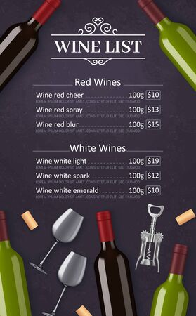 Wine list vector menu template of red and white grape alcohol drinks. Wine bottles, glasses, corks and corkscrew frame border, decorated with vintage vignette, winery, restaurant and bar design