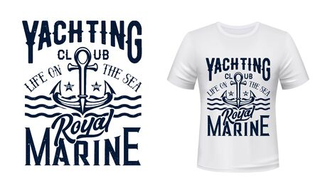 Anchor t-shirt print of nautical yacht club, sailing and yachting sport vector design. Sea ship or boat anchor with waves, stars and hand lettering, sailboat regatta team apparel fashion