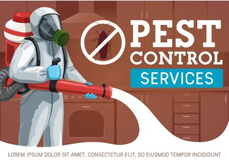 Pest control worker spraying insecticide against insects and rodents vector design. Exterminator with pressure sprayer, cockroach prohibition sign, chemical protective suit and mask