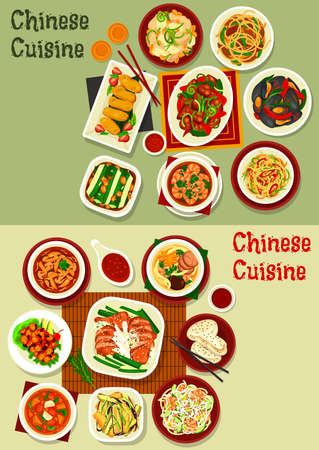 Chinese cuisine vector design with seafood, meat, vegetables and desserts. Shrimp and beef noodles with chilli, mushroom and chilli, chicken, cucumber and bean salads, baked duck, mussels, milk cakes