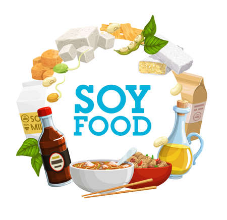 Soy food icon of soya bean products vector design. Soybean milk, oil and sauce, tofu, tempeh and miso, soy flour, meat and noodles, tofu skin, sprouted beans, green pods and leaves, vegetarian meal