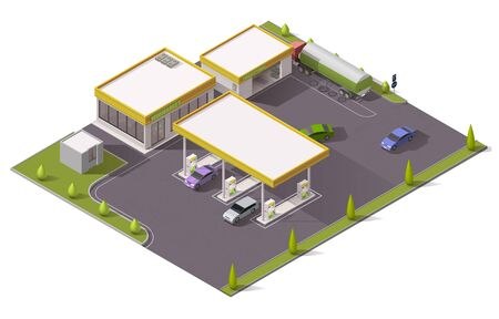 Gas, petrol and fuel filling station 3d isometric design with vector gasoline pumps, cars, store buildings and tank truck, auto service, repair shop, tire fitting and garage. Architecture themes Фото со стока - 140642656