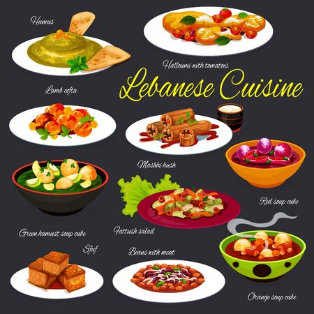 Lebanese vegetable soups with meat dishes vector design of arab cuisine. Tomato salad with croutons, hummus and lamb meatballs, bean stew, zucchini stuffed with beef and rice, turmeric cake sfouf