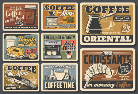 Coffee cups, pots and espresso machine, roasted beans, grinder and croissant, cappuccino, latte and macchiato drinks takeaway paper mugs, donut and milk vector posters. Coffee shop, cafe, coffeehouse Vettoriali