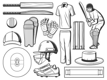 Cricket sport game icons with vector ball, bats and wicket, batsman player, helmet and team uniform, gloves, play field with pitch and creases, leg pads, spiked shoes, sun hat and cap. Sport equipment