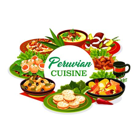 Peruvian cuisine meat and vegetable dishes with fish ceviche and dessert vector icon. Corn beef stew, grilled chicken salad and baked potato with olives, shrimp croquettes, oxtail soup and cookies Ilustração