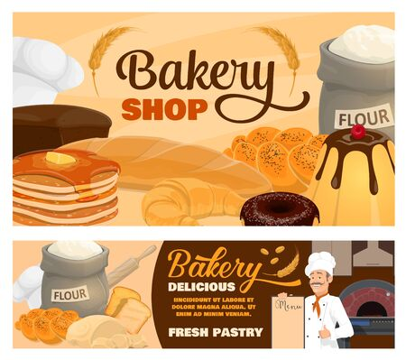 Bakery shop vector banners of bread, pastries and baker with menu. Wheat baguette, french croissant and donut, rye toast, pie and pudding, pancakes, flour bag and dough with wheat ears and baker hats Illustration