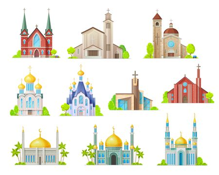 Religion building vector icons with churches, temples and mosques, synagogue, cathedral and monastery with towers, crosses, chapels and crescent. Muslim, christian and lutheran religious architecture Çizim
