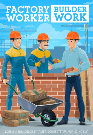 Builders, masons and bricklayers, construction industry and masonry design. Build workers building brick wall with trowel, cement bags and wheelbarrow, helmets, uniforms and work tools