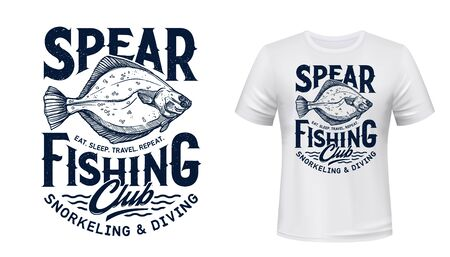 Flounder fish t-shirt print of spearfishing sport fashion design. Fishing and diving club apparel, fisherman and diver activewear or tournament team uniform with sea flatfish and blue waves ベクターイラストレーション