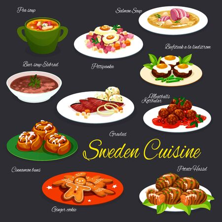 Swedish fish and meat dishes vector design. Vegetables, ham and beef steak with eggs, salmon, pea and beer soups, baked potato, meatballs and marinated salmon, cinnamon rolls and ginger cookies