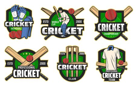 Cricket sport game vector badges with balls, bats and wickets, batsman player, helmet and team uniform, glove, leg pads and play field on shields. Cricket club and championship emblems design Иллюстрация