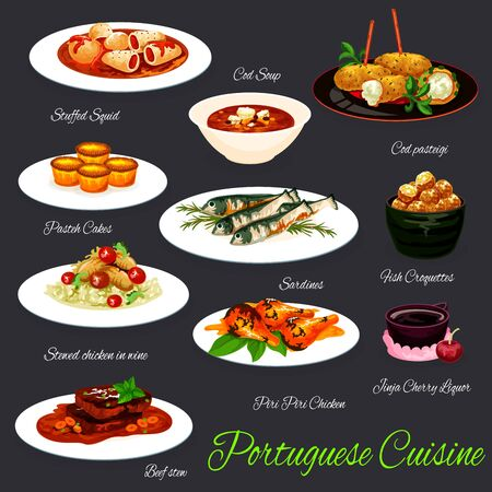 Portuguese food vector design of grilled sardines, fish soup and croquettes, stuffed squid, beef stew and piri-piri chicken, custard tart, rice with chicken stewed in wine, cherry liquor, cod fritters