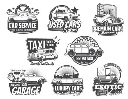 Vintage car and auto repair service spare part vector badges. Retro automobiles with vehicle engine piston, mechanical gear, spanner and wrench icons, mechanic garage, taxi, used cars salon emblems 向量圖像