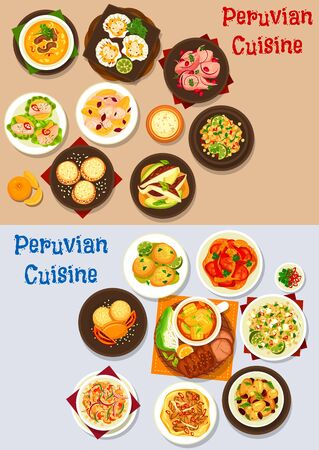 Peruvian food of seafood and fish ceviche with vegetable, meat and dessert dishes. Vector beef corn stew and soup, quinoa bean salads with feta and avocado, shrimp croquettes and alfajor cookies Vecteurs