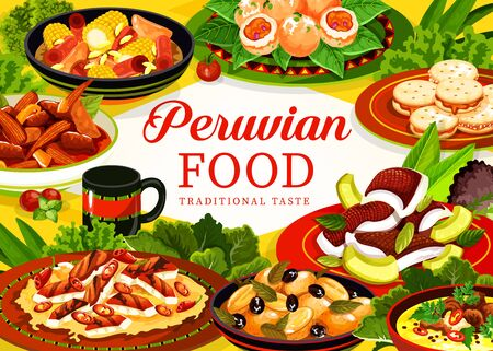 Peruvian food vector frame of meat and vegetable stews, fish avocado ceviche, chicken and chilli salad, alfajor cookies, seafood croquettes and oxtail soup with spice herbs. Restaurant menu design