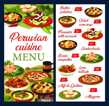 Peruvian restaurant menu vector template with beef meat and vegetable stews, seafood croquettes and dessert. Chicken salad with nut sauce, flounder fish with avocado and oxtail soup, cookie alfajores