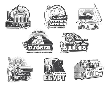 Egypt travel vector icons with ancient Egyptian pharaoh pyramids, temples and Gods, map, heraldic eagle and scarabs, Cairo mosque, Nile river and Amun. Museum of Egyptology, tourist tour symbols Ilustração