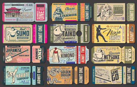 Ticket templates of Japanese travel vector design. Entrance coupons of asian dragon and music festivals, kimono and samurai armor museum exhibitions, sumo championship, ninja and horse archer shows
