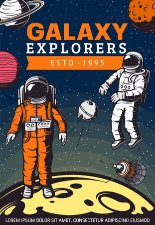 Space exploration retro design with vector rockets, astronauts, planets and satellites. Astronomy science and space travel poster with galaxy explorers or spacemen, spacesuits and spaceship