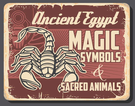 Ancient Egypt scarab beetle and scorpion animal vector design of Egyptian religious symbols. Magic bug with open wings and sun in paws, sacred animal of Serket goddess, Egyptian mythology retro poster