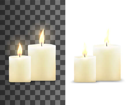 Candles 3d vector design with realistic flame. Aromatic wax cylindrical candles with burning wicks and bright light on transparent and white background, religious ceremony, interior decoration themes