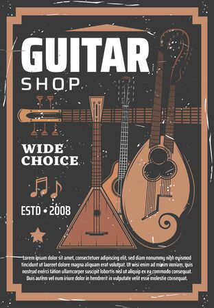 String instruments of folk music with musical notes vector design of guitar shop. Russian balalaika, English guitar citra, tar and harp mandolin with two necks retro banner Ilustrace