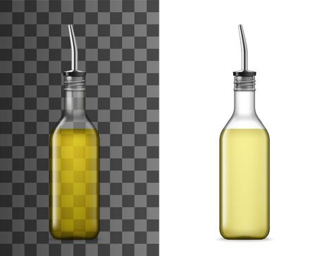 Bottle with pourer 3d vector mockups. Olive and sunflower oil, vinegar, sauce and seasonings glass container templates with drizzle spout, dispenser lid or plug, cooking ingredients glassware design