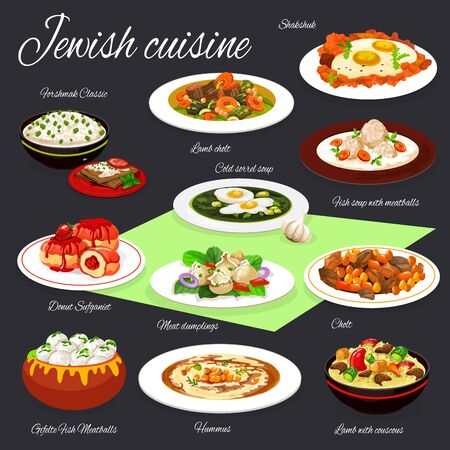 Jewish cuisine vector design of hummus, eggs with vegetables, meat and chickpea stew, forshmak, gefilte fish and fruit donuts. Sorrel and meatball soups, beef dumpling and lamb with couscous